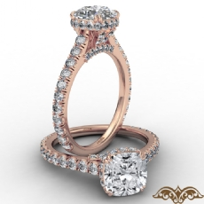 Cathedral Hidden Halo U Pave Cushion diamond  Ring in 14k Rose Gold