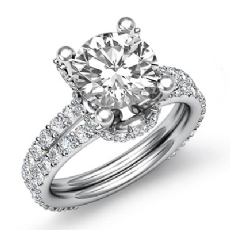 Knot Style Prong Set Round diamond engagement Ring in 14k Gold White