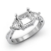 3 Stone Side Heart Diamond Engagement Ring Princess Semi Mount 14k White Gold 0.82Ct - javda.com