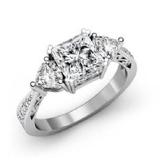 Tapered Three Stone Filigree diamond Ring 14k Gold White