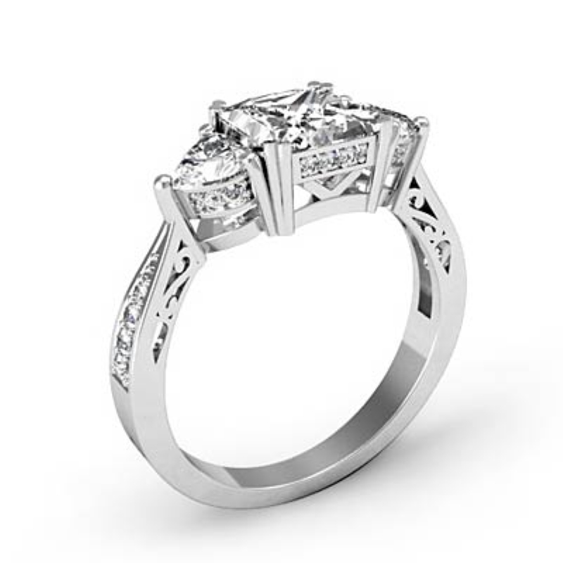 3 Stone Filigree Prong Set Princess Diamond Engagement Ring 14k