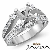 1.20Ct Antique Diamond Engagement Ring Pave Setting 14k White Gold Semi Mount