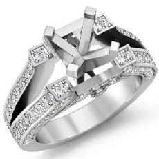 1.20Ct Antique Diamond Engagement Ring Pave Setting 14K White Gold Semi Mount
