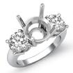 Round Diamond Three 3 Stone Engagement Ring Setting 14k White Gold Semi Mount 1.5Ct - javda.com
