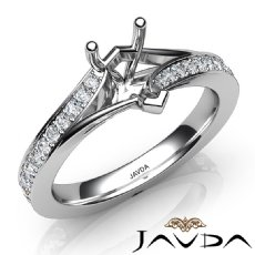Pave Setting Diamond Engagement Pear Semi Mount Ring 14K White Gold 0.35Ct