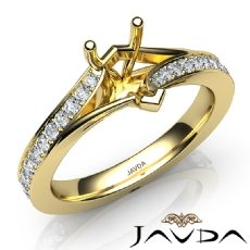 Pave Setting Diamond Engagement Pear Semi Mount Ring 18k Gold Yellow  (0.35Ct. tw.)