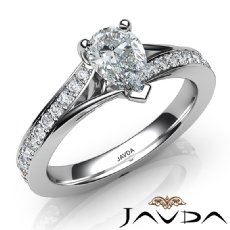 Pave Set Classic Side-Stone Pear diamond engagement Ring in 14k Gold White