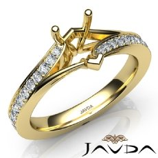 Heart Diamond Engagement Pave Set 18k Gold Yellow Heart Semi Mount Ring  (0.35Ct. tw.)