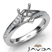 Heart Diamond Engagement Pave Set 14k White Gold Heart Semi Mount Ring 0.35Ct - javda.com