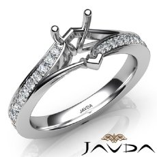 Heart Diamond Engagement Pave Set 14k White Gold Heart Semi Mount Ring 0.35Ct