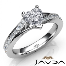 Pave Setting Side Stone Heart diamond engagement Ring in 14k Gold White