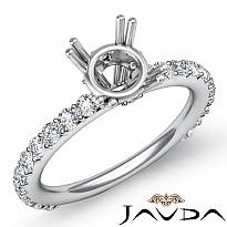 0.45Ct Round Diamond 4 Prong Engagement Ring Setting 14k White Gold Semi Mount