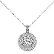 Halo Pave Gallery Bale Round diamond  Pendant in 14k Gold White