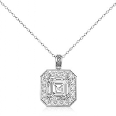 Asscher diamond  Pendant in 14k Gold White
