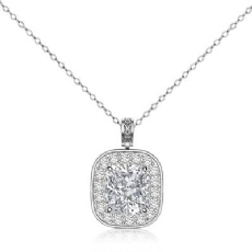 Filigree Bail Halo Pave Cushion diamond  Pendant in 14k Gold White