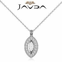 0.63Ct Pave Set Diamond Marquise Solitaire Pendant 14k White Gold