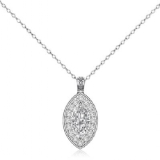 Circa Style Halo Pave Bale Marquise diamond  Pendant in 14k Gold White