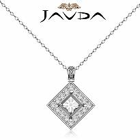 0.67Ct Pave Set Diamond Solitaire W/Accent Princess Pendant 14k Gold