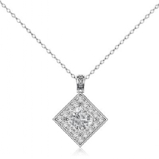 Circa Halo Kite Style Bale Princess diamond  Pendant in 14k Gold White