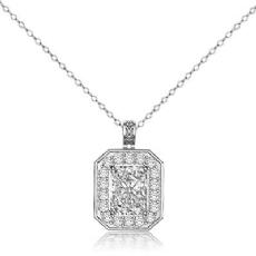 Radiant diamond  Pendant in 14k Gold White