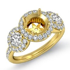 Round Diamond Engagement Ring 3 Stone Pave Semi Mount 18k Gold Yellow Setting  (0.85Ct. tw.)