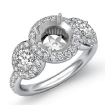 Round Diamond Engagement Ring 3 Stone Pave Semi Mount 14k White Gold Setting 0.85Ct - javda.com