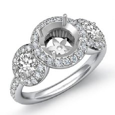 Round Diamond Engagement Ring 3 Stone Pave Semi Mount 14k W Gold Setting 3/4Ct