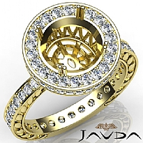 Diamond Engagement Ring Round Semi Mount 14k Gold Yellow Halo Pave Setting (1Ct. tw.)