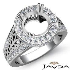 Round Diamond Engagement Ring Pave Setting 14K White Gold Wedding Band 0.85Ct