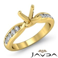 Round Diamond Engagement Ring Channel Setting 18k Gold Yellow Wedding Band  (0.31Ct. tw.)