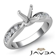 Round Diamond Engagement Ring Channel Setting 14K White Gold Wedding Band 0.31Ct