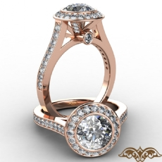 Accent Bezel Halo Micro Pave Round diamond  Ring in 18k Rose Gold