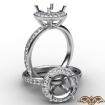 0.6Ct Pave Diamond Vintage Engagement Ring 14k White Gold Halo Setting Semi Mount - javda.com
