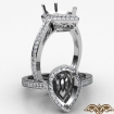 0.5Ct Diamond Engagement Pear Ring 14k White Gold Halo Pave Setting Semi Mount - javda.com