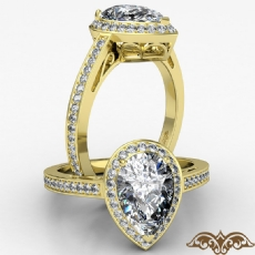 Halo Pave Set Filigree Design diamond Ring 14k Gold Yellow