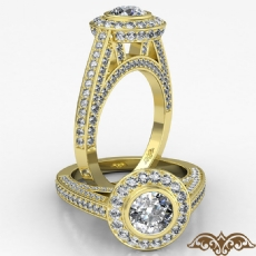 Bezel Halo Pave Bridge Accent Round diamond  Ring in 18k Gold Yellow