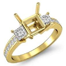 3 Stone Diamond Engagement Ring Princess Cut Semi Mount Setting 18k Gold Yellow  (0.8Ct. tw.)