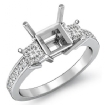3 Stone Diamond Engagement Ring Princess Cut Semi Mount Setting 14k White Gold 0.8Ct - javda.com