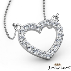 0.50Ct Round Diamonds Open Heart Pendant Necklace In 14k White Gold