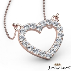 Round Diamonds Open Heart Pendant Necklace In 14k Rose Gold (0.5Ct. tw.)