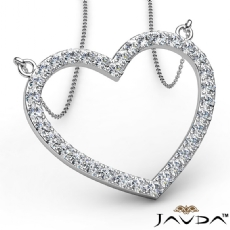 Open Heart Frame Pendant Necklace In 18k Gold White Round Diamonds  (1Ct. tw.)