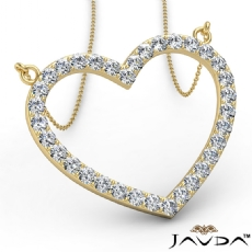 Open Heart Frame Pendant Necklace In 14k Gold Yellow Round Diamonds  (1Ct. tw.)
