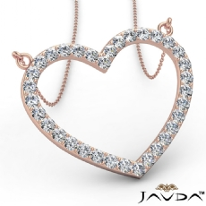 Open Heart Frame Pendant Necklace In 14k Rose Gold Round Diamonds  (1Ct. tw.)