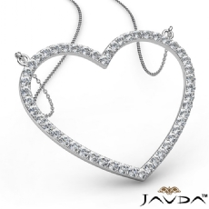 Open Heart Pendant Necklace In 14k White Gold Round Diamond 1.50Ct