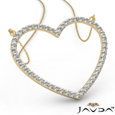 Open Heart Pendant Necklace In 14k Gold Yellow Round Diamond  (1.5Ct. tw.)