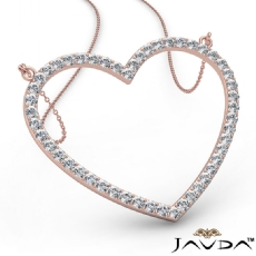Open Heart Pendant Necklace In 14k Rose Gold Round Diamond  (1.5Ct. tw.)