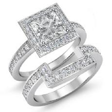 Pave Set Halo Bridal Set Princess diamond engagement Ring in 14k Gold White