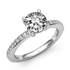 Classic Sidestone Pave Set Round diamond engagement Ring in 14k Gold White