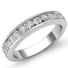Women's Matching Half Wedding Band Channel Diamond 2.75mm Ring 14k W Gold 0.5Ct