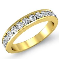 Women's Matching Half Wedding Band Channel Diamond 2.75mm Ring 18k Gold Yellow  (0.5Ct. tw.)